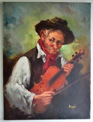 Vintage Oil Painting On Canvas Signed Ruocco Old Man W/ Violin Postimpresionismo