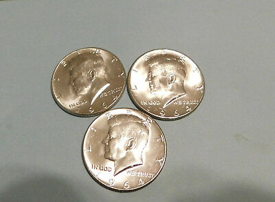 3 Coin Lt 1964 P 90% Silver Kennedy Half Dollars Brilliant Au From Roll Lot#3