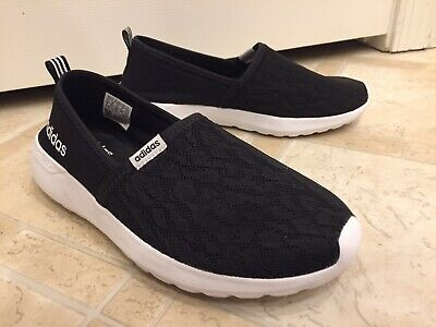 new styles 37dc9 71ab5 adidas Womens Cloudfoam Lite Racer Slip on Shoes 7 MED Black White AC8475