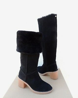 34fbd12107de UGG APPALACHIN TALL Black Suede Sheepskin Womens Snow Boots Us 5 New ...