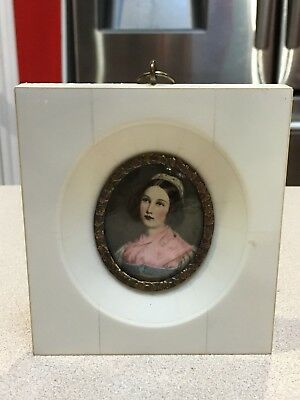 Rare And Antique Signed Hand Painted Miniature Portrait