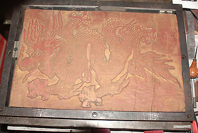 Antique Hand Carved Wood Printing Block and Print of Chinese Dragon