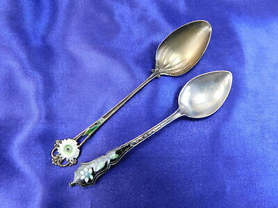 Whiting & Unknown Pattern Enameled Sterling Silver Demitasse Spoon Pair - Gw S