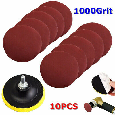 10Pc 4'' Sanding Disc Sandpaper Hook Loop 1000 Grit+Drill Adapters + Backer Pads