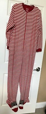 e3f17fde444f NICK   NORA Red and White Striped Sock Monkey Footed Onesie PJs Size ...