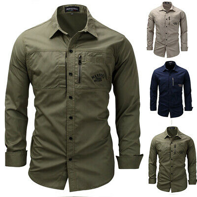 555eb55b5 New Mens Military Surplus Style Shirt Army Raw Long Sleeve Button Up Cotton  Top.