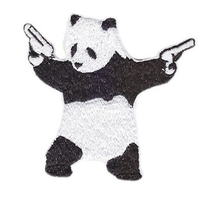 Embroidery Panda Bear Wielding Pistols Gun Iron on Patches Applique Fabric Badge