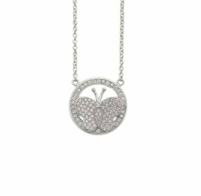 925 Sterling Silver White Round Diamond Accents Butterfly In Circle Necklace