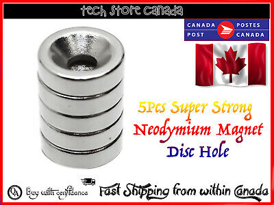 5pcs Strong Ring Magnet 10x3mm Countersunk Hole 3mm- Fast Canada Shipping