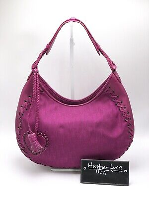 34c57f9d8e24 Authentic CHRISTIAN DIOR Ethnic Heart Fuschia Pink Saddle Hobo Shoulder Bag