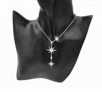 14k White Gold Over 925 Sterling Silver Diamond Star Lariat Necklace