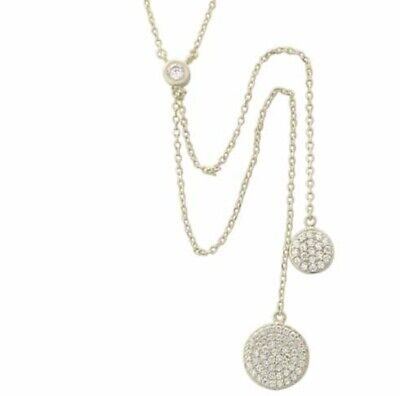 14k White Gold Over 925 Sterling Silver Diamond Circle Disc Lariat Necklace