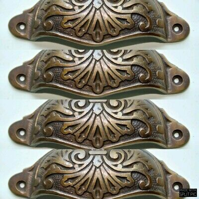 "4 cast engraved solid brass heavy shell shape pulls handle kitchen vintage 4"" B"