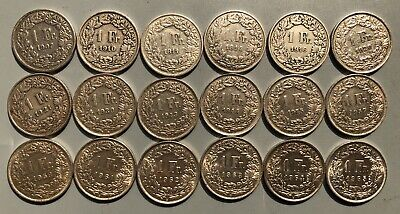 Tomcoins-18x1907-1965 Swiss Switzerland 1 Franc Helvetia silver coin