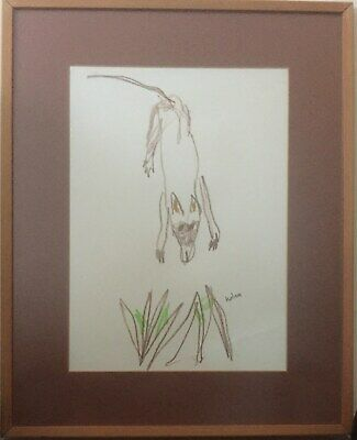 Sidney Nolan Signed  Original Crayon Drawing The Wild Dog Rare Collectable Art