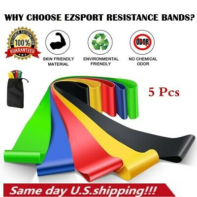 5PCS Workout Resistance Bands Loop Set CrossFit Fitness Yoga Booty Exercise Band