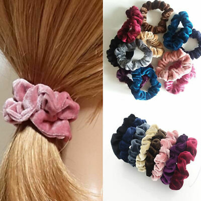 Large Women Stripe Velvet Scrunchie Ponytail Holder Tail Wrap Elastic Hair Bands