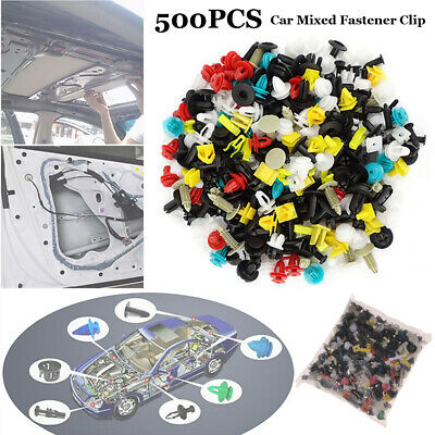 500Pcs Auto Car Body Plastic Push Pin Rivet Fasteners Trim Panel Moulding Clips