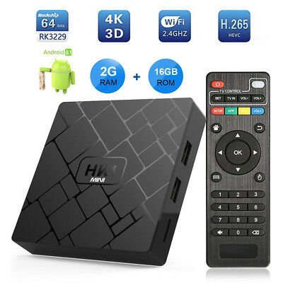 HK1MINI Android 8.1 Quad Core RK3229 2GB+16GB Smart TV BOX 4K Movies 3D Sports