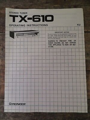 Pioneer Stereo Tuner TX-610 Operating Instruction Manual Generic