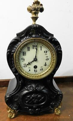 carved french ebonised mantel clock