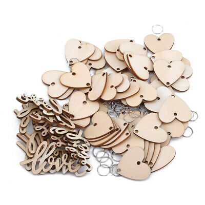 50 Pcs Plywood Love Wood Birthday Calendar DIY Home Curtain Ornaments Decor LT