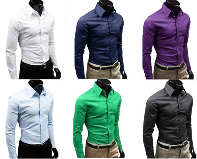 Mens Luxury Casual Long Sleeve Tops Blazer Blouse Formal Business Slim Fit Shirt