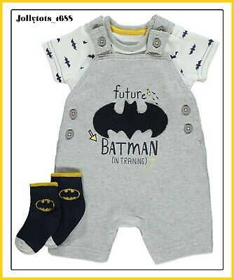 New DC Comics Baby Boys Batman Superman Character Clothing Outfit P.J's Rompers