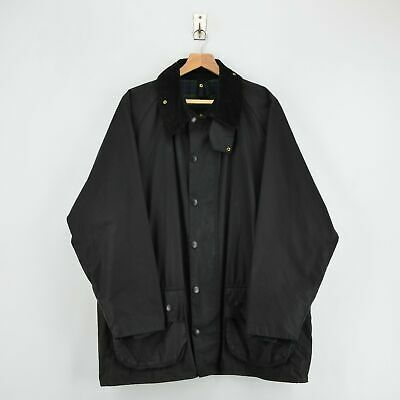Vintage Barbour A145 Beaufort Black Wax Cotton Jacket Made In England XL / XXL