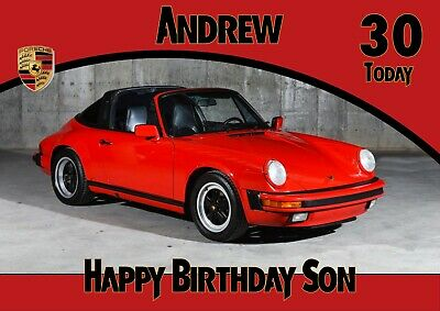 personalised birthday card Sports car Porsche 911 any name/age/relation.