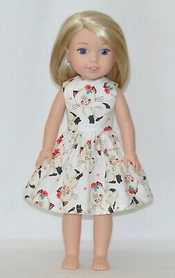 White Beautiful Cat Doll Dress Clothes Fits American Girl Wellie Wisher Dolls