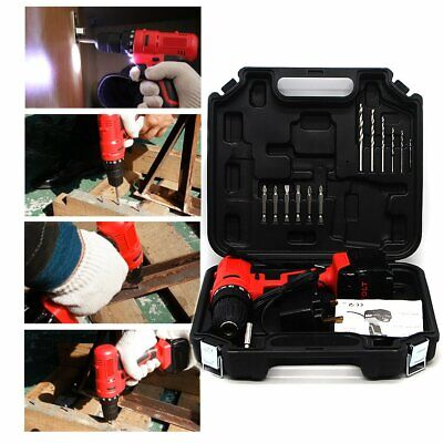 18V CORDLESS POWER DBATTERY DRILL DRIVER WORK LED ELECTRIC SCREWDRIVER 550 rpm