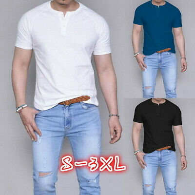 UK Mens Short Sleeve Crew Neck T-Shirt Casual Fitted Basic Tee Fitness Tops 520
