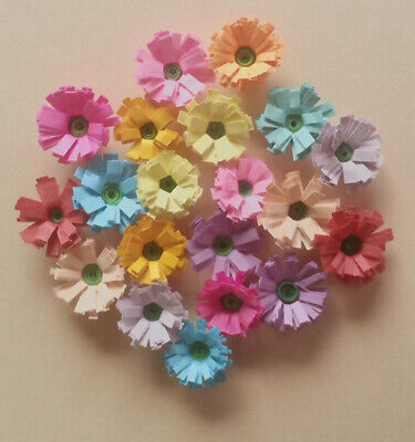 Quilling Quilled Handmade Fringed Flowers Scrapbook & Cards Mixed Colours