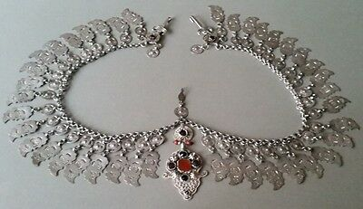 GORGEOUS ANTIQUE SILVER OTTOMAN NECKLACE with carneol-Hand hammered 19th century