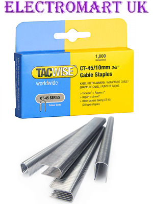 "Tacwise Ct45 10Mm 3/8"" Cable Tacker Staples 1000 Per Box Galvanised"