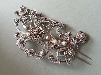 STUNNING ANTIQUE Ottoman Rococo jewelry ornament hand knitted SILVER filigree
