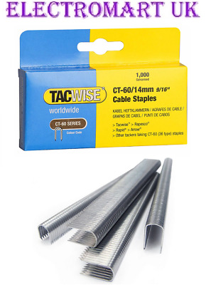 "Tacwise Ct60 14Mm 9/16"" Cable Tacker Staples 1000 Per Box Galvanised"