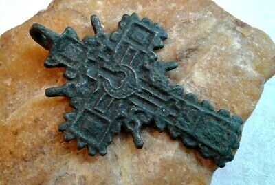 "RARE ANTIQUE 17-18th CENTURY LARGE ORNATE ORTHODOX ""OLD BELIEVERS"" CROSS PENDANT"