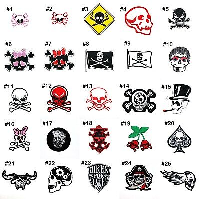 Skull Zombie Skeleton Retro Rock Punk Biker Tattoo Clothing Jeans Iron on patch