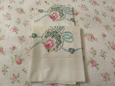 Vintage Hand Embroidered Rose Floral Bridal Bouquet Pillowcase Pair