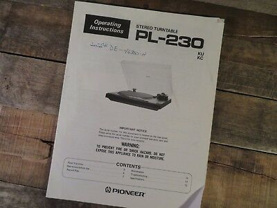 PIONEER Stereo Turntable PL-230 Operating Instruction Manual