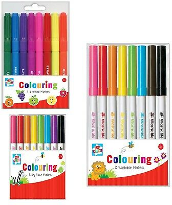 8 Kids Colouring Markers Pen Scented Dry Washable Arts Crafts Design Kids Create