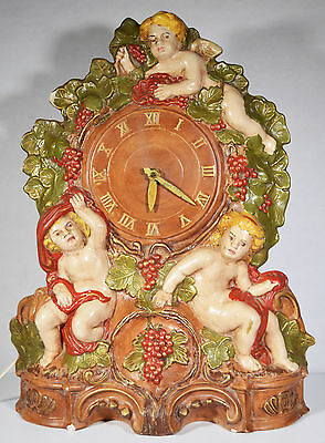 "17"" Vintage Ornate Electric Clock Putti Angels Hand Painted Ceramics Desk Decor"