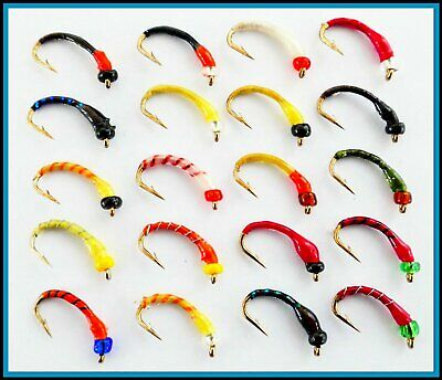 RANDOM MIX OF COLOURS from set 90 Trout Fly Fishing Flies Epoxy Buzzers