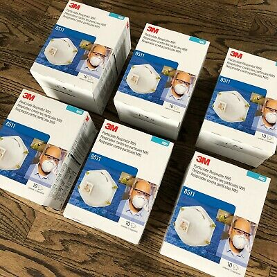 3M 8511 Particulate N95 Respirator with Valve - 60 MASKS (6 Cases of 10) NEW!