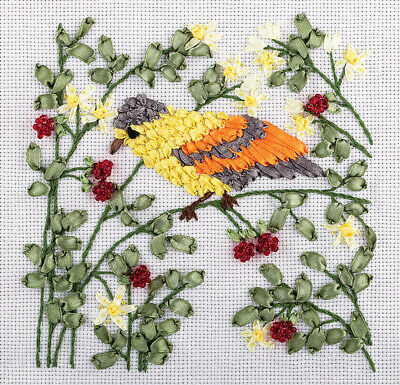 Panna Ribbon & Bead Embroidery Kit - PT-1263 Songbird in a Raspberry Bush
