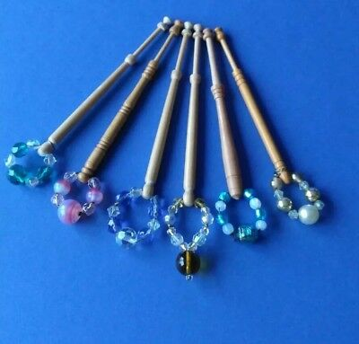 6 Light Wooden Lace Bobbins With Crystal & Pearl Spangles.