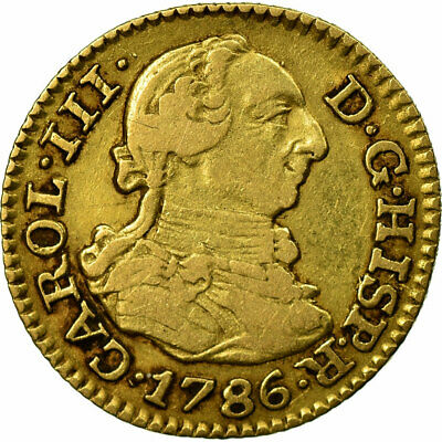 [#484116] Coin, Spain, Charles III, 1/2 Escudo, 1786, Madrid, EF(40-45), Gold