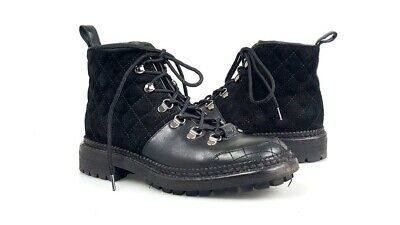 4bb4cedd8c4 Chanel Black Leather Quilted Suede CC Lace Up Ankle Combat Boots Shoes Size  37